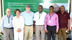 L-R-- Peter Kulakow (IITA), Kathy Lopez (IITA), Ronnie Coffman (Cornell University), Godwin Atser (IITA), Chiedozie Egesi (IITA), and Paul Ilona (HarvestPlus), during the visit of Prof Coffman in IITA Ibadan